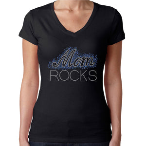 Womens T-Shirt Rhinestone Bling Black Fitted Tee Mom Rocks Blue White Sparkle