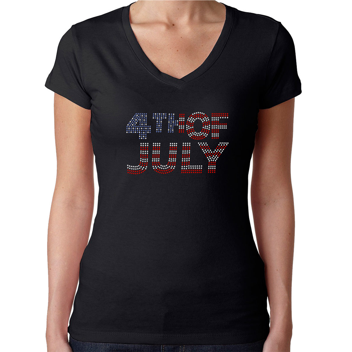 Womens T-Shirt Rhinestone Bling Black Fitted Tee 4th of July Flag Red White Blue