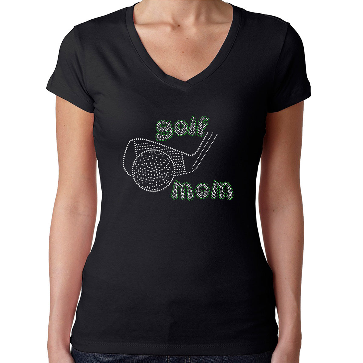 Womens T-Shirt Rhinestone Bling Black Fitted Tee Golf Mom Sparkle White Green