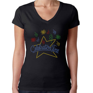 Womens T-Shirt Rhinestone Bling Black Fitted Tee Celebration Time Fireworks