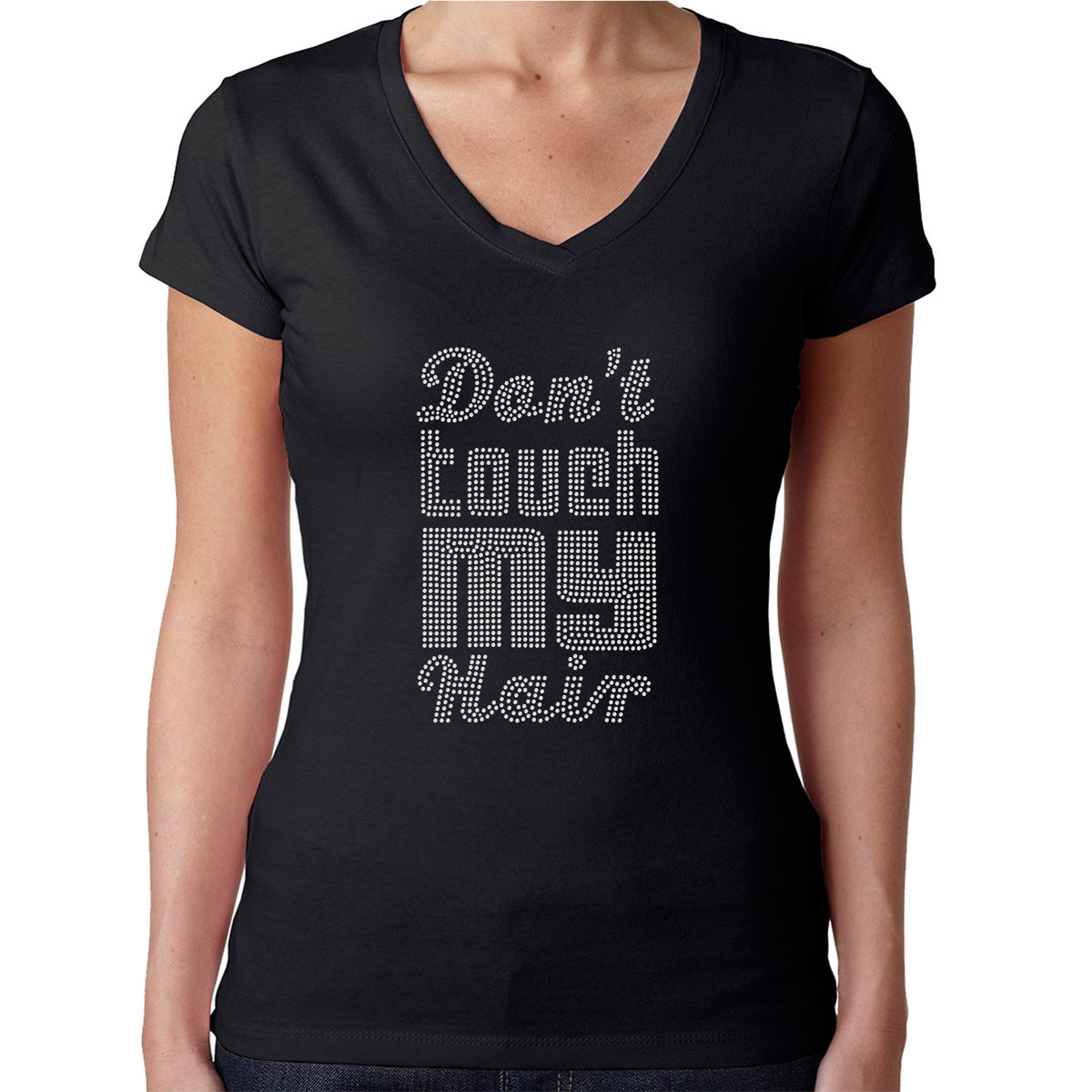 Womens T-Shirt Rhinestone Bling Black Fitted Tee Don't Touch My Hair Disco Style
