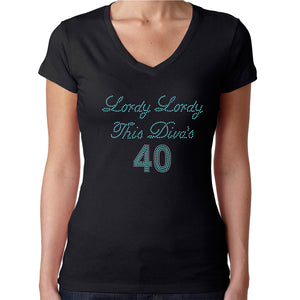 Womens T-Shirt Rhinestone Bling Black Fitted Tee Lordy This Divas 40 Forty