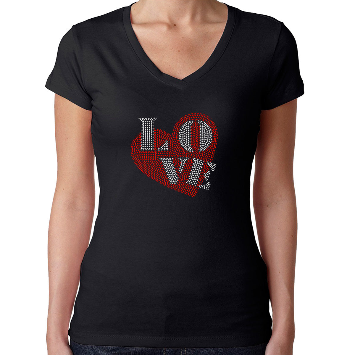 Womens T-Shirt Rhinestone Bling Black Tee Love Heart Red Valentine