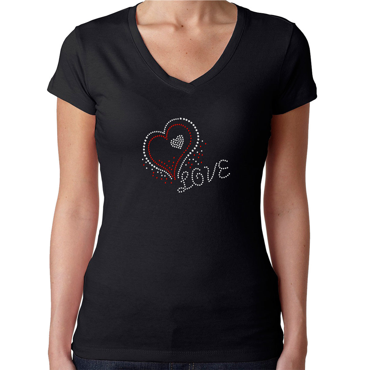 Womens T-Shirt Rhinestone Bling Black Fitted Tee Love Valentines Heart Sparkle