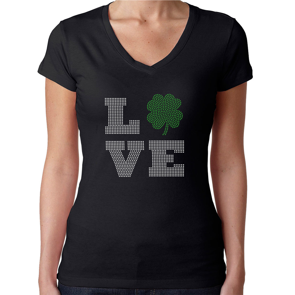 Womens T-Shirt Rhinestone Bling Black Fitted Tee LOVE Irish Shamrock St. Patrick