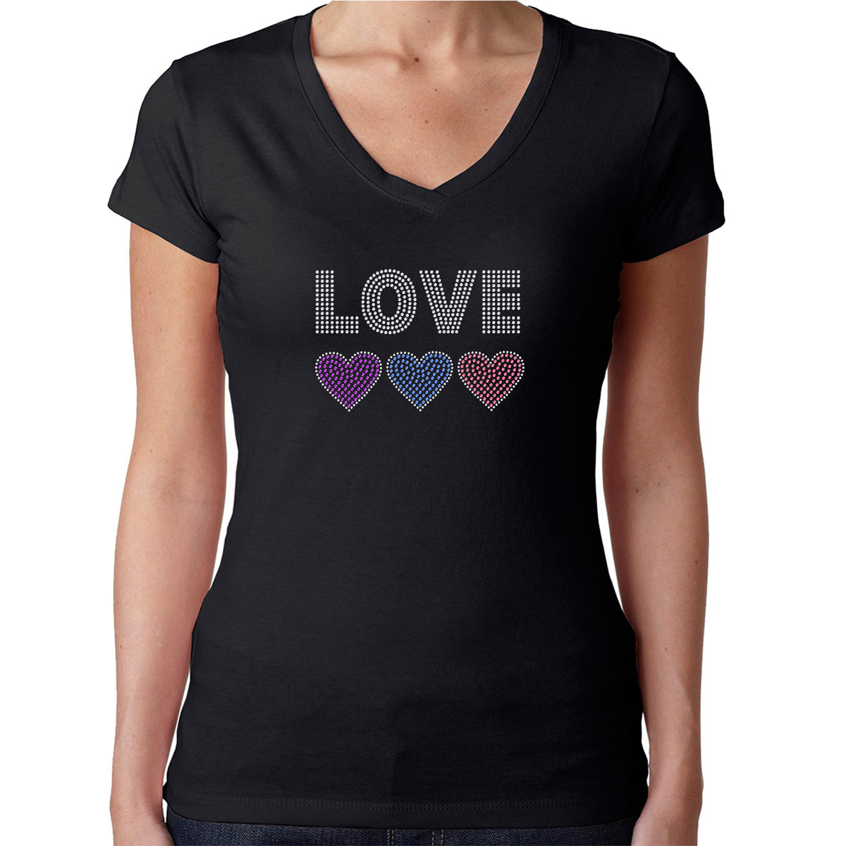 Womens T-Shirt Rhinestone Bling Black Fitted Tee Love 3 Hearts Pink Purple