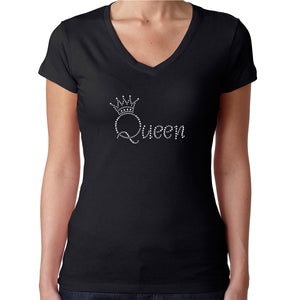 Womens T-Shirt Rhinestone Bling Black Fitted Tee Queen Crown Crystal White