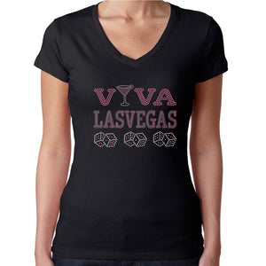 Womens T-Shirt Rhinestone Bling Black Fitted Tee Las Vegas Dice Pink