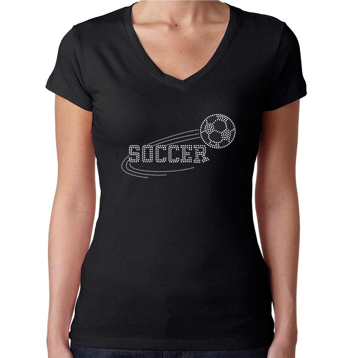 Womens T-Shirt Rhinestone Bling Black Fitted Tee Soccer Sports Ball White