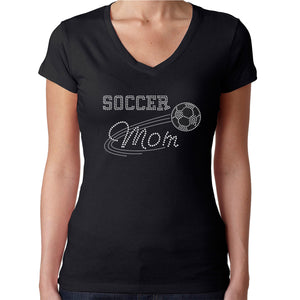 Womens T-Shirt Rhinestone Bling Black Fitted Tee Soccer Mom White Ball