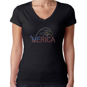 Womens T-Shirt Rhinestone Bling Black Fitted Tee America Bald Eagle Flag