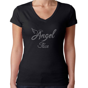 Womens T-Shirt Rhinestone Bling Black Fitted Tee Angel Face Halo White Sparkle