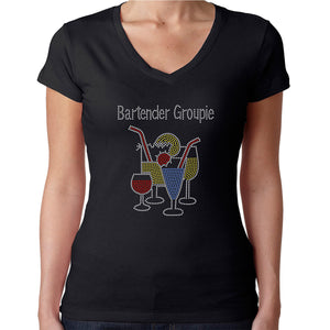 Womens T-Shirt Rhinestone Bling Black Fitted Tee Bartender Groupie Cocktail Glass