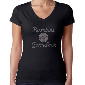 Womens T-Shirt Rhinestone Bling Black Fitted Tee Baseball Grandma Ball Sparkle