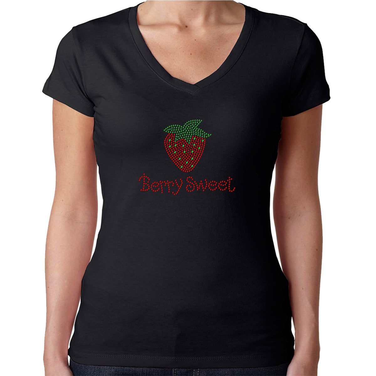 Womens T-Shirt Rhinestone Bling Black Fitted Tee Berry Sweet Straberry Sparkle