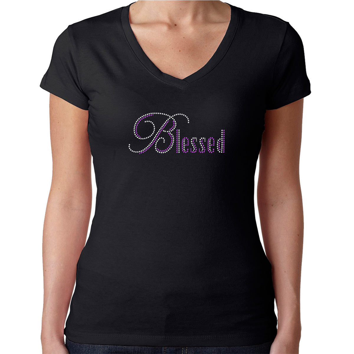 Womens T-Shirt Rhinestone Bling Black Fitted Tee Blessed White Sparkle