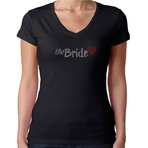 Womens T-Shirt Rhinestone Bling Black Fitted Tee The Bride Red Heart Sparkle