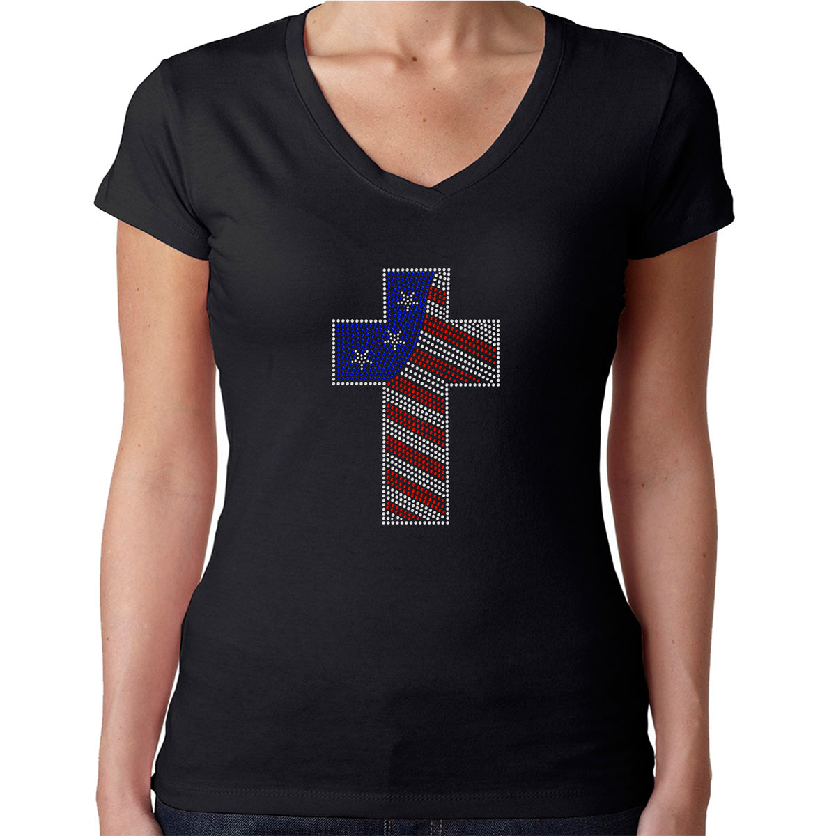 Womens T-Shirt Rhinestone Bling Black Fitted Tee American Flag Colors Cross