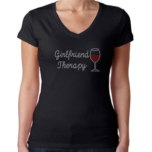 Womens T-Shirt Rhinestone Bling Black Fitted Tee Girlfriend Therapy Red Wine Glass