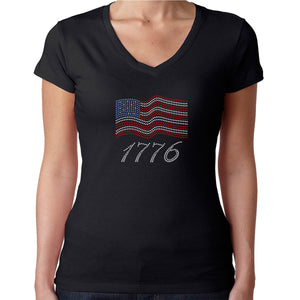 Womens T-Shirt Rhinestone Bling Black Fitted Tee USA Flag 4th of July 1776