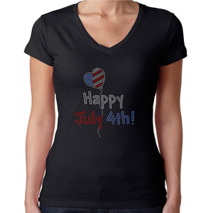 Womens T-Shirt Rhinestone Bling Black Fitted Tee Happy 4th of July Balloon Heart