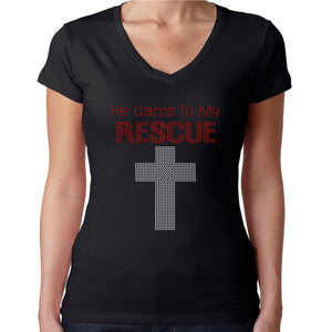 Womens T-Shirt Rhinestone Bling Black Fitted Tee He Came to my Rescue Jesus God