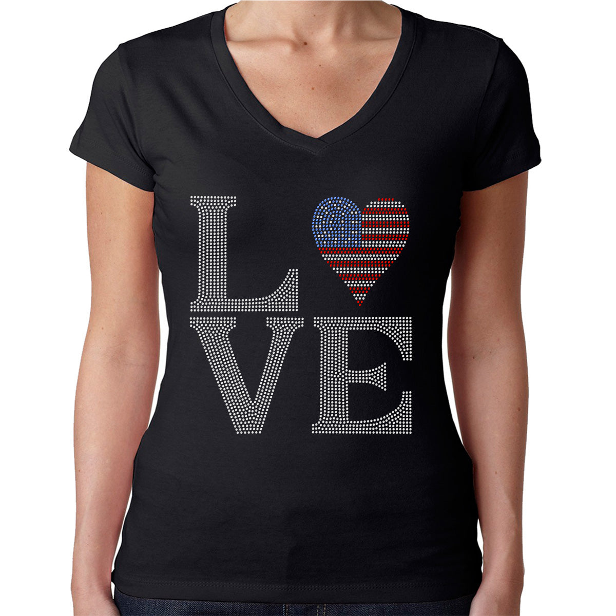 Womens T-Shirt Rhinestone Bling Black Fitted Tee LOVE USA Flag 4th of July