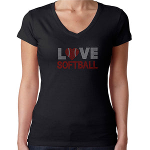 Womens T-Shirt Rhinestone Bling Black Fitted Tee Love Softball Red Heart Ball