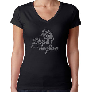 Womens T-Shirt Rhinestone Bling Black Fitted Tee Diva for a Daytime Sparkle