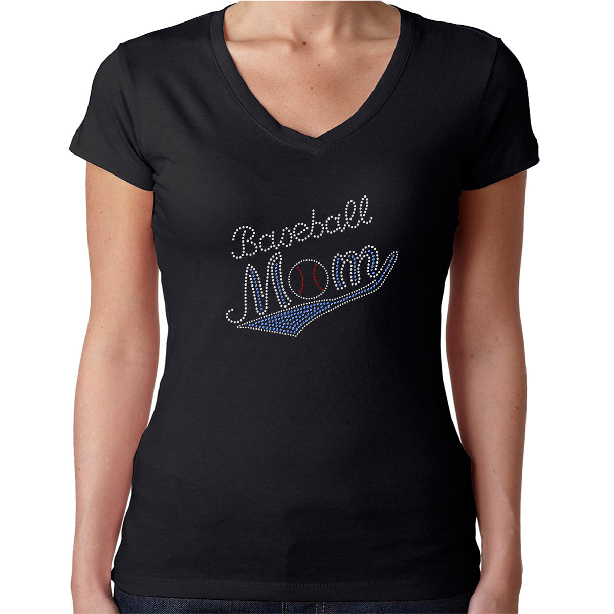 Womens T-Shirt Rhinestone Bling Black Fitted Tee Baseball Mom Ball Blue
