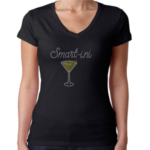 Womens T-Shirt Rhinestone Bling Black Fitted Tee Smartini Smart Martini Glass