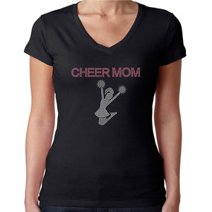 Womens T-Shirt Rhinestone Bling Black Fitted Tee Cheer Mom Pink Sparkle