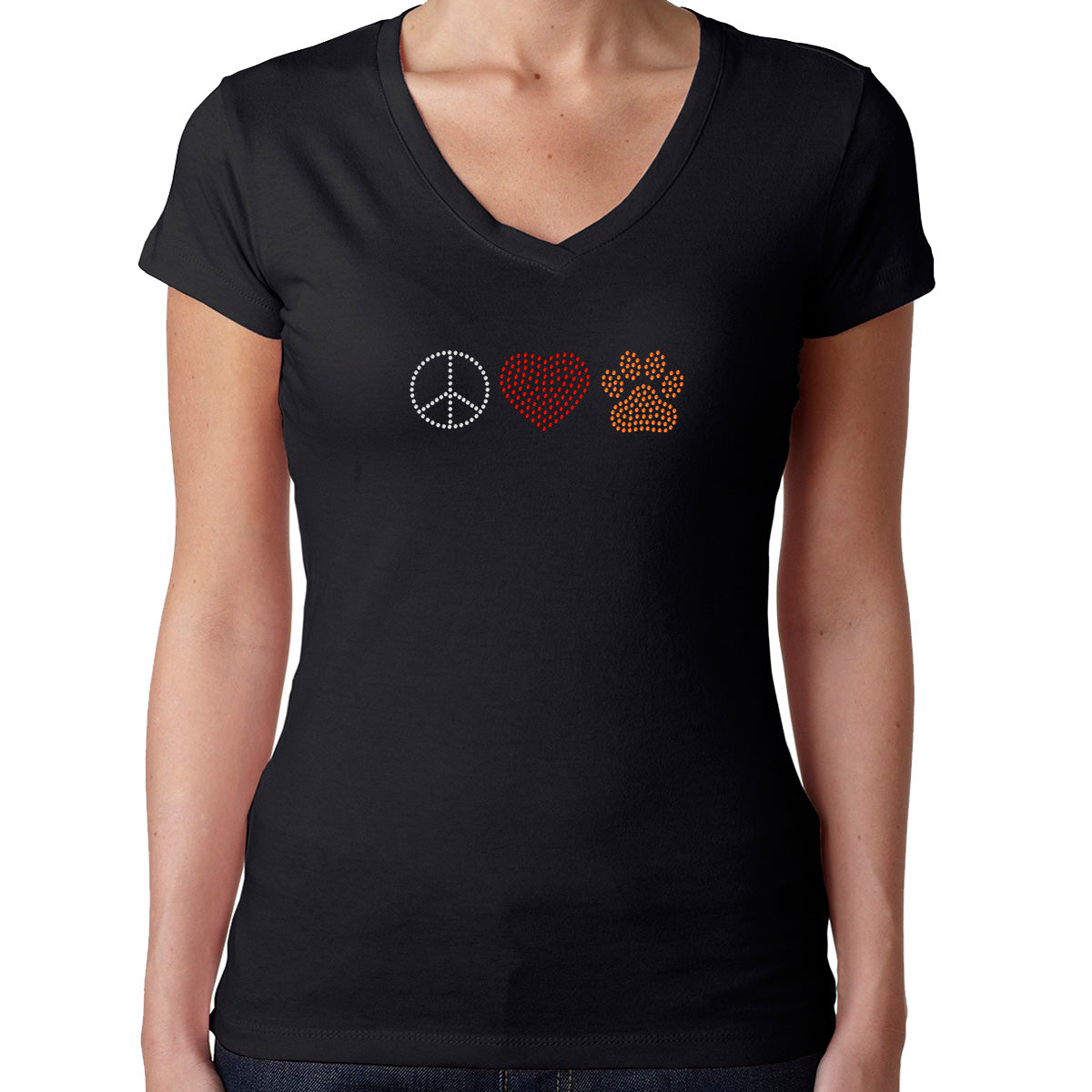 Womens T-Shirt Rhinestone Bling Black Fitted Tee Peace Sign Love Heart Dog Paw