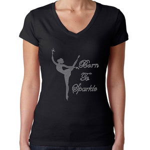 Womens T-Shirt Rhinestone Bling Black Fitted Tee Born Sparkle Ballerina Dancer