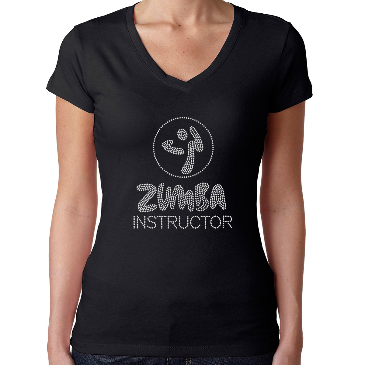 Womens T-Shirt Rhinestone Bling Black Fitted Tee Zumba Instructor Dance Fitness