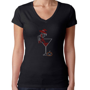 Womens T-Shirt Rhinestone Bling Black Fitted Tee Halloween Witch Martini Glass