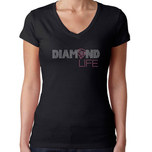 Womens T-Shirt Rhinestone Bling Black Fitted Tee Diamond Life Pink Sparkle