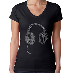 Womens T-Shirt Rhinestone Bling Black Fitted Tee Headphones Disco Sparkle