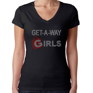 Womens T-Shirt Rhinestone Bling Black Fitted Tee Get a Way Girls Shopping Bag