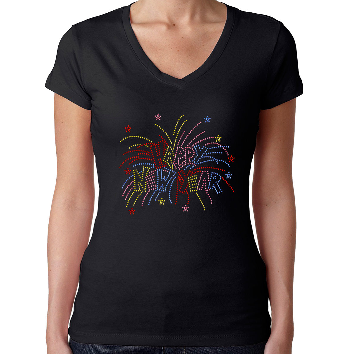Womens T-Shirt Rhinestone Bling Black Fitted Tee Happy New Year Fireworks