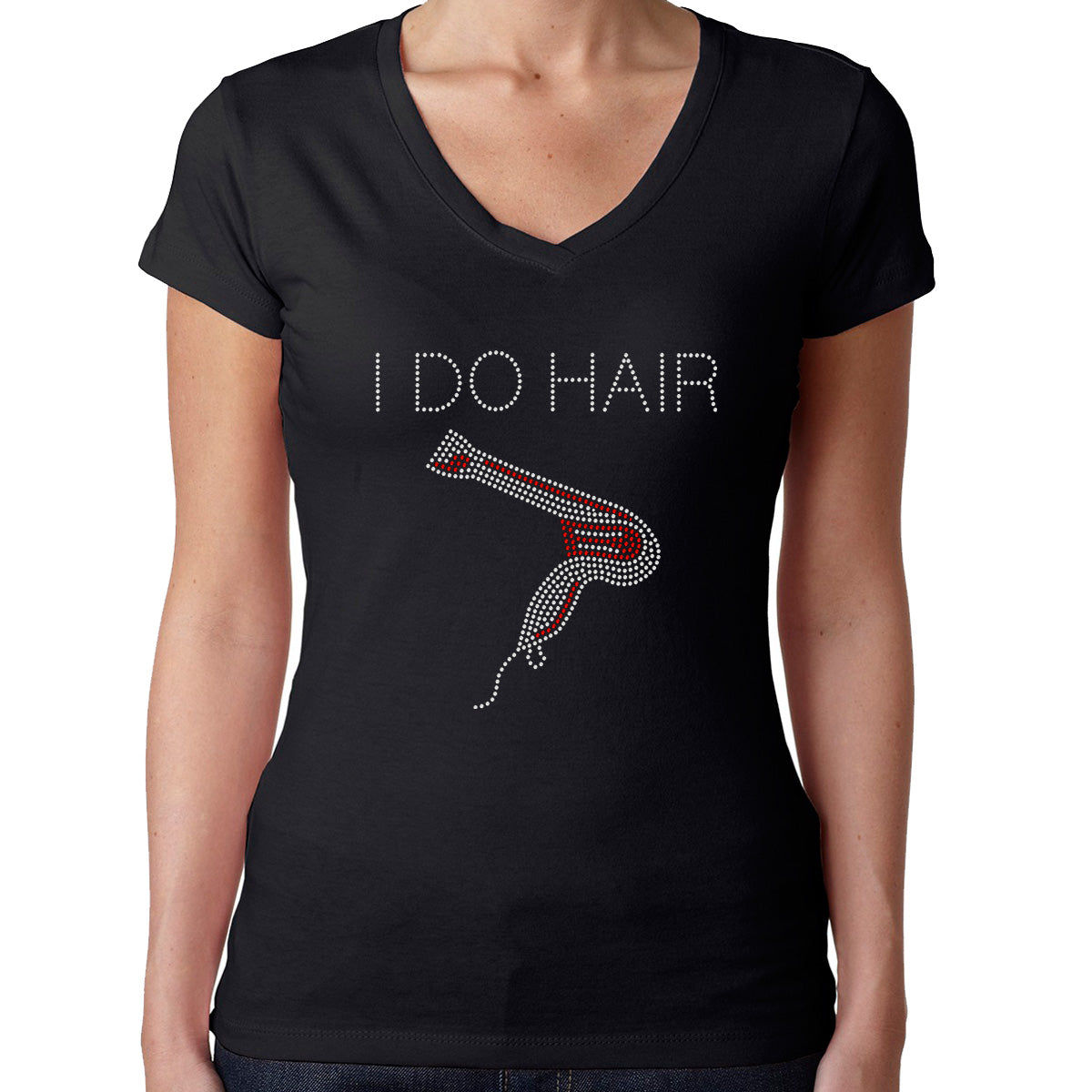 Womens T-Shirt Rhinestone Bling Black Fitted Tee I Do Hair Hairdryer Salon