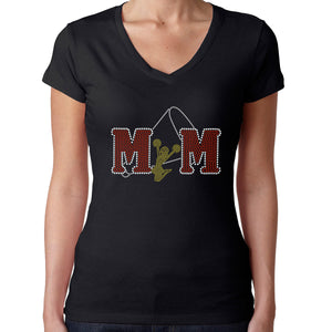 Womens T-Shirt Rhinestone Bling Black Fitted Tee Cheer Mom Red Yellow Sparkle