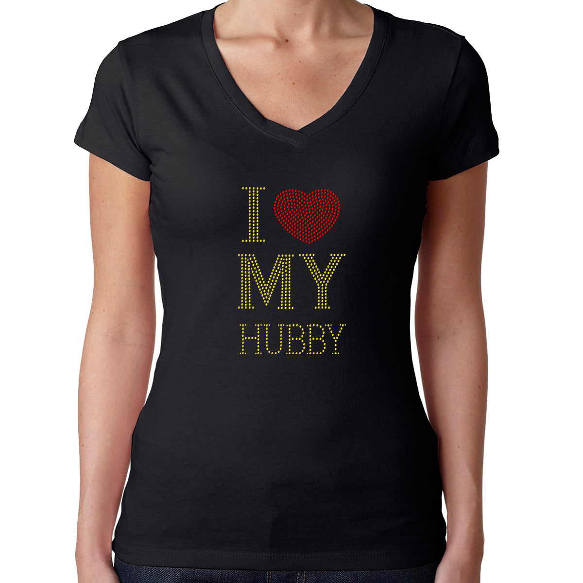 Womens T-Shirt Rhinestone Bling Black Fitted Tee I Love Red Heart my Hubby