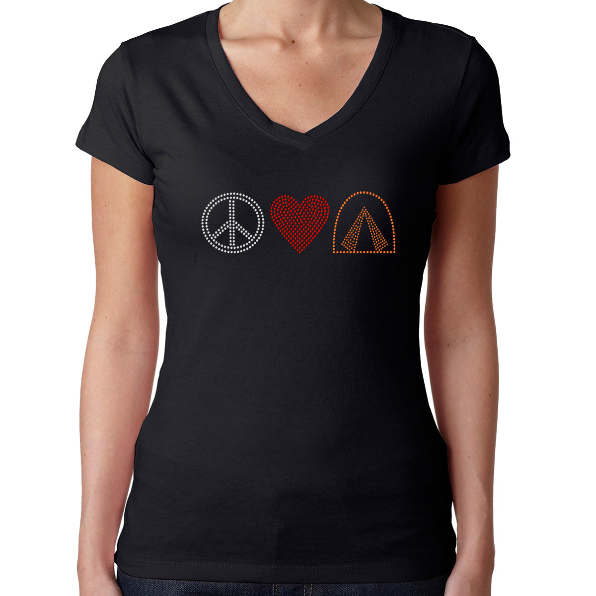 Womens T-Shirt Rhinestone Bling Black Fitted Tee Peace Sign Love Heart Camping