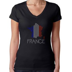 Womens T-Shirt Rhinestone Bling Black Fitted Tee France Flag Map Sparkle