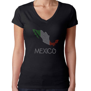 Womens T-Shirt Rhinestone Bling Black Fitted Tee Mexico Flag Map Sparkle