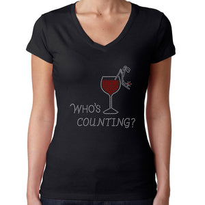 Womens T-Shirt Rhinestone Bling Black Fitted Tee Who's Counting Glass Red Wine