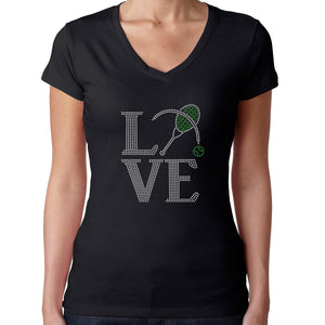 Womens T-Shirt Rhinestone Bling Black Fitted Tee Love Tennis Racket Tenis