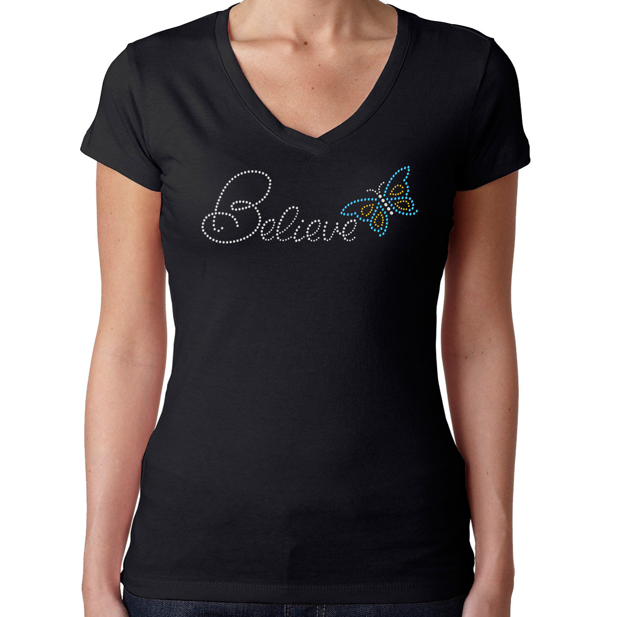 Womens T-Shirt Rhinestone Bling Black Fitted Tee Believe Butterfly Blue Yellow