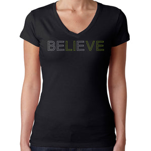 Womens T-Shirt Rhinestone Bling Black Fitted Tee Believe LIVE Inspirational